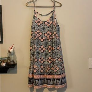 Navy and coral patterned dress